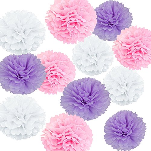 X-Sunshine Paper Pom Poms Party Balls Tissue Paper Flower 12pcs 8 inch 10 inch Multicolored Decoration Flowers Hanging Flower For Wedding, Baby Shower, Birthday, Party (White Pink Purple)]()