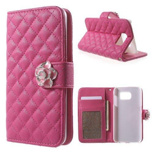 Caso del tirón la caja del teléfono móvil para Samsung Galaxy S6 / SM-G920F - Voltear Rhomb Case rosa profundo Flip Book Case Cove negocios