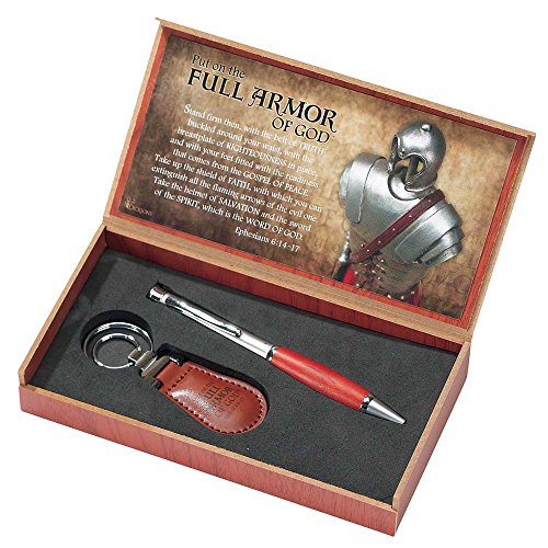 Full Armor of God Ephesians 6:14-17 Ball Point Pen and Key Ring Gift Set