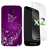Exian Motorola Moto G (2nd Generation) Screen Guards x2 and TPU Case Butterflies and Flower Purple, Retail Packaging