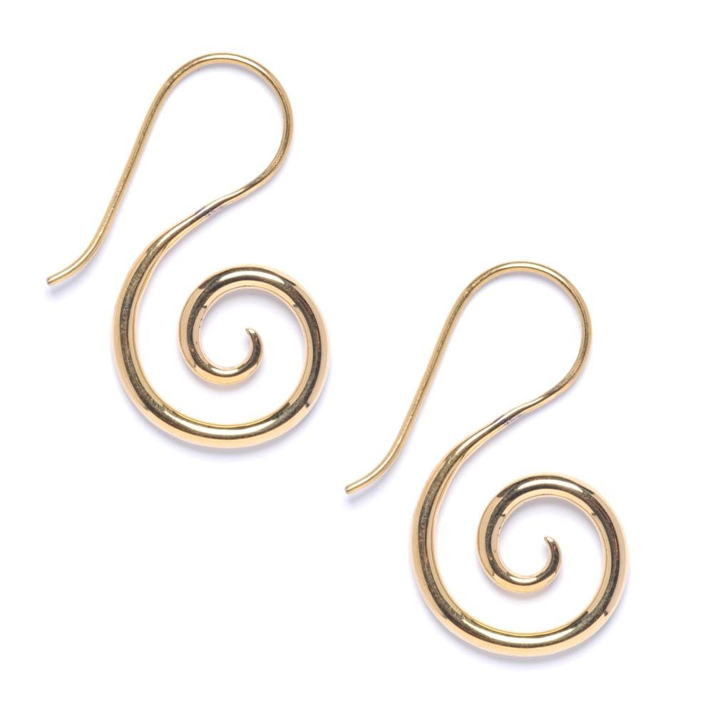 81stgeneration Women's Men's Brass Gold Tone 16 Gauge Spiral Hook Fake Stretcher Tribal Earrings