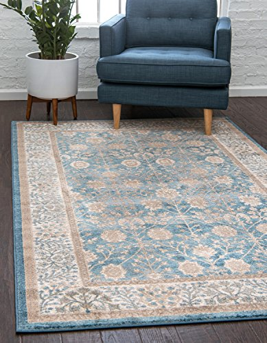 - Unique Loom Salzburg Collection Traditional Oriental Light Blue Area Rug (5' 0 x 8' 0)