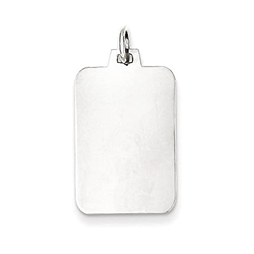 Rect 925 Sterling Silver Rhodium Platede Eng Polish Front Satin Back Disc Charm