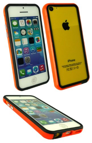 Emartbuy ® Apple Iphone 5c Geformt Stoßfeldfall Gel Cover / Schutzhülle Solid Orange / Schwarz