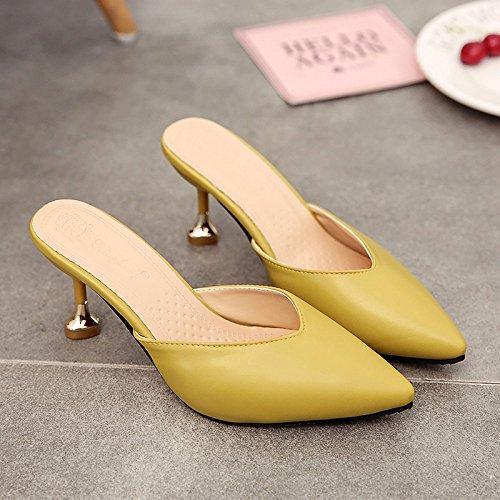 35 Amarillo Zapatillas Elegantes los y Femeninos Zapatos Chica de Baotou y Verano Punta Alto Mitad fankou Multa a Cool de wUxXSqEH