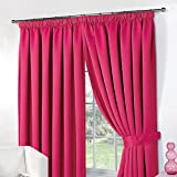 Dreamscene Thermal Pencil Pleat Blackout PAIR Curtains Ready Made Lined with Tiebacks - Raspberry 46 x 54 by Dreamscene