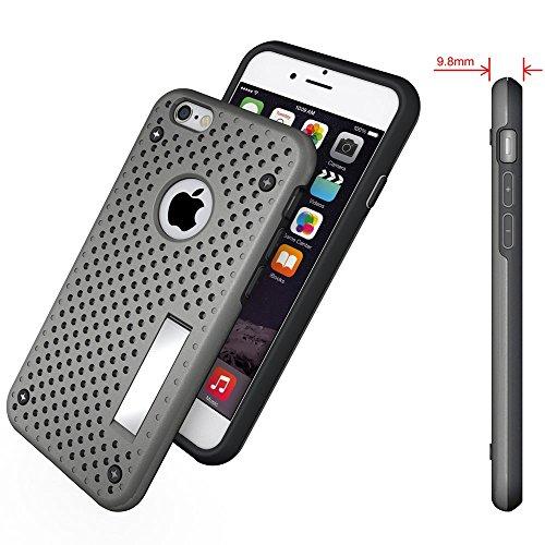Apple iPhone 6/6S Étui Housse Case Étui de grille avec support Gris decui Gris/TPU Coque en gel