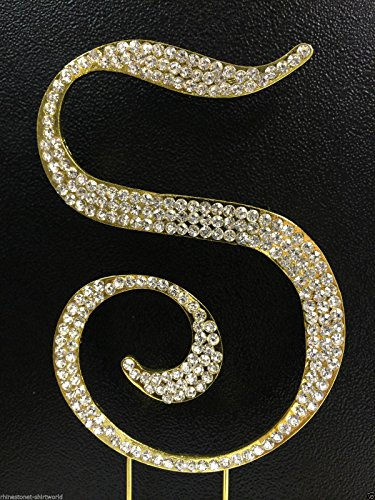 Crystal Rhinestone Covered Gold Monogram Wedding Cake Topper Letter S by Unknown]()