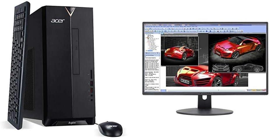 "Acer Aspire TC-885-UA91 Desktop, 9th Gen Intel Core i3-9100, 8GB DDR4, 512GB SSD, Black & Sceptre E248W-19203R 24"" Ultra Thin 75Hz 1080p LED Monitor 2X HDMI VGA Build-in Speakers, Metallic Black 2018"