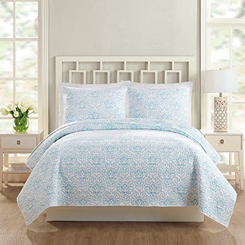 (Vera Bradley A074516TEFDE Swedish Floral Coverlet, Full/Queen, Turquoise)