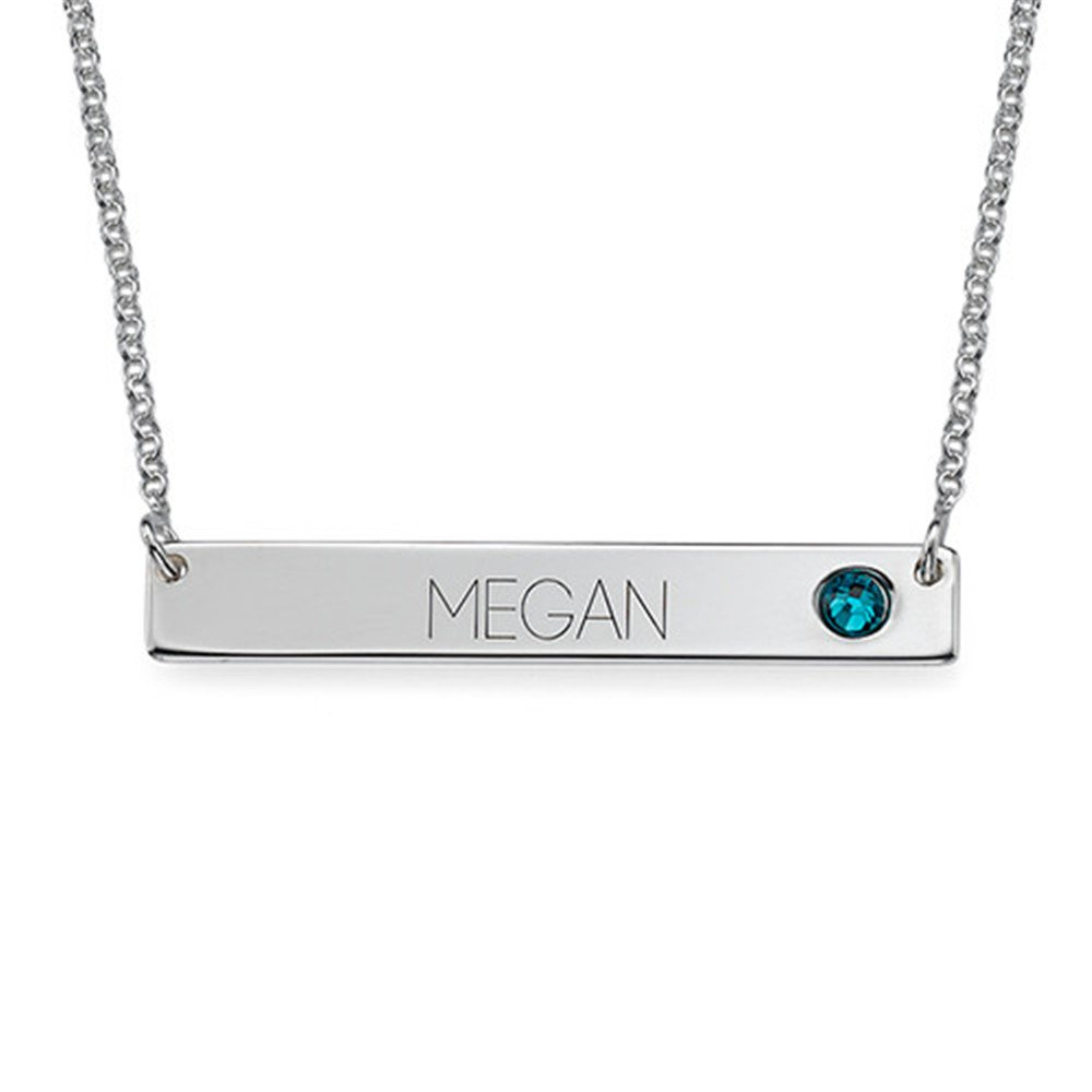 jingH Personalized nameplate bar with Lucky Stone 925 Sterling Silver Custom Name Necklace