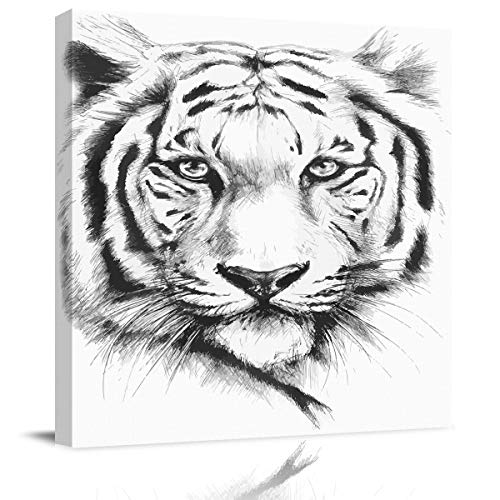 Square Canvas Wall Art Oil Painting for Bedroom Living Room Home Collection,Hand Drawn Tiger Face Aniaml Pattern Artworks for Wall Decor,Stretched by Wooden Frame,Ready to Hang,20 x 20 Inch ()
