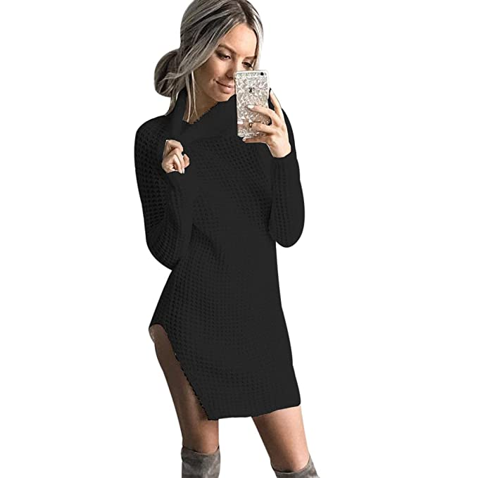 c90c5f10 Amazon.com: XWDA Women Knitted Sweater Party Jumper Dress Long Sleeve Polo Neck  Sweater: Clothing