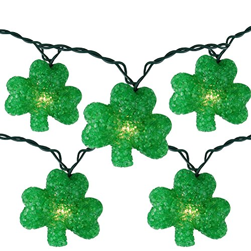 Northlight  Luck of The Irish St Patrick's Day Shamrock Christmas Lights Green Wire, Set of (St Patricks Day Lights)