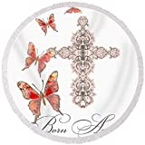 Pixels Round Beach Towel With Tassels featuring ''Cross Born Again Christian Inspirational Butterfly Butterflies'' by Audrey Jeanne Roberts