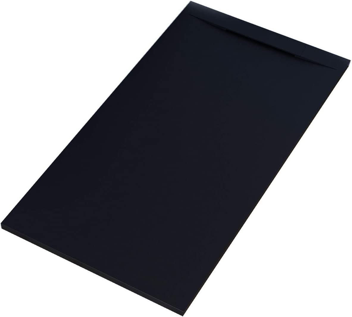 Essence - Plato de ducha de mármol de resina con efecto piedra de pizarra - Modelo Venice - Mineralmarmo con Gelcoat - Desagüe lateral de diseño en color negro