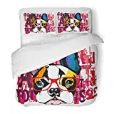 SanChic Duvet Cover Set Portrait of French Bulldog Wearing Sunglasses Decorative Bedding Set with 2 Pillow Shams Full/Queen Size