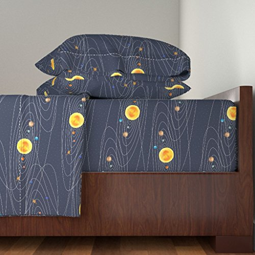 Roostery Science 3pc Sheet Set Solar System by Mrshervi Twin Sheet Set made with by Roostery