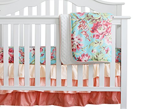 3 pcs Set Boho Floral Ruffle Baby Minky Blanket Water Color, Peach Floral Nursery Crib Skirt Set Baby Girl Crib Bedding ()