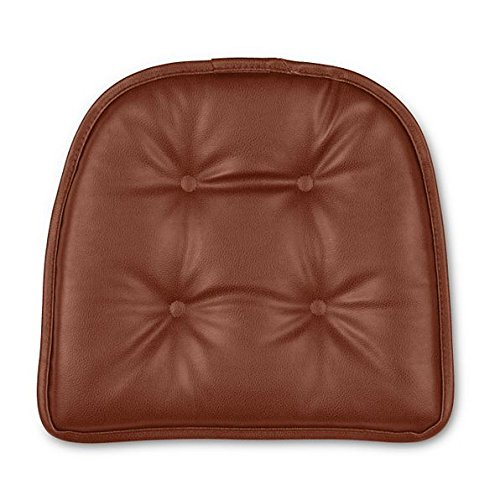 Leather Chair Pads - Faux Leather Gripper Chair Pad (Saddle)