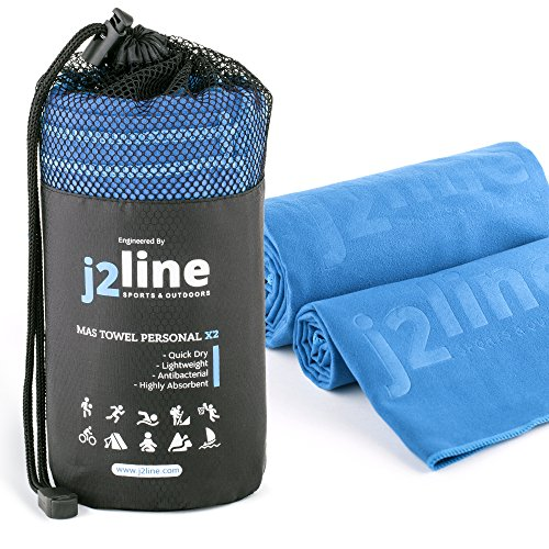j2 Line Set of 2 Camping Towels and Bath Towels - Super Absorbent & Quick Drying! Travel, Beach, Sport, Bath or Gym + FREE Hand/Face Towel & Mesh BAG