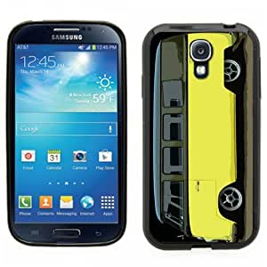 Samsung Galaxy S4 SIIII Black Rubber Silicone Case - VW Bus Black and Yellow Slammed Lowered Panel 13 window