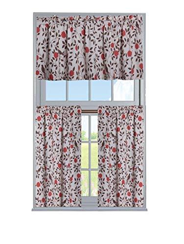 GoodGram Luxurious Shabby Cotton Blend Flowers & Birds 3 Pc. Kitchen Curtain Tier & Valance Set