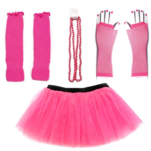 Dreamdanceworks 80s Fancy Costume Set - TUTU & LEG WARMERS & FISHNET GLOVES & BEADS (Hot Pink) ()