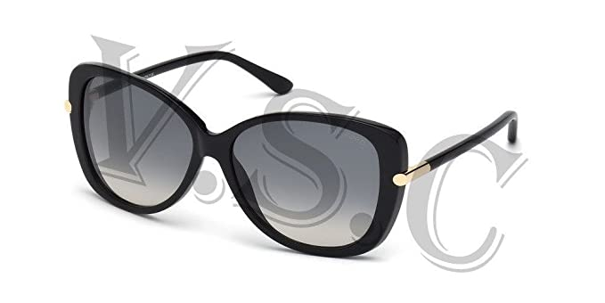 0c749f0b771 Image Unavailable. Image not available for. Color  Tom Ford Linda TF0324  Sunglasses 01B - Shiny Black   Gradient Smoke 59 mm
