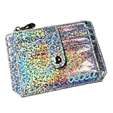 Baomabao Women Laser Wallet Cards Credit Card Holder Case Wallet Business Card Package (Silver)