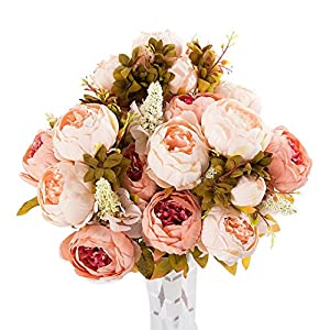 Cywulin 3 Bouquet 24 Heads Artificial Peony Silk Fake Flowers Floral Decor for Wedding Bouquet House Office Garden Inddor Outdoor 98