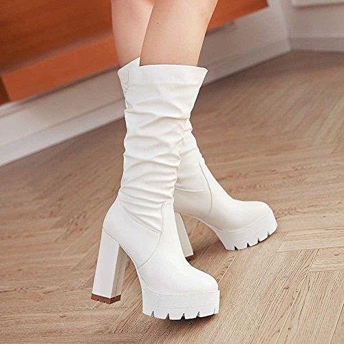CHFSO Chunky Mid Toe High Heel Slouchy White Round Stylish Womens Boots Platform Cuff Solid rwCYrSq