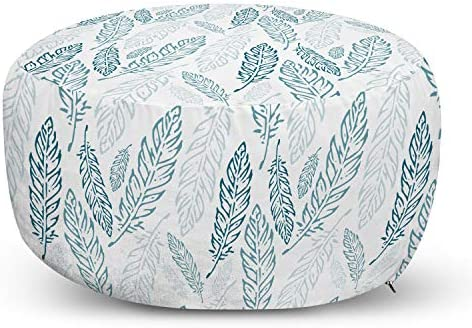 Ambesonne Teal and White Ottoman Pouf