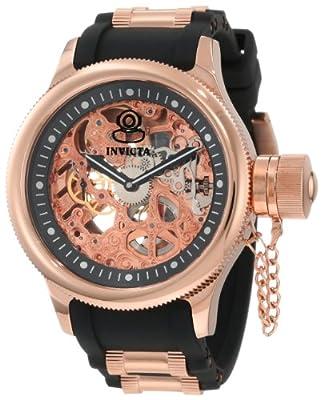 Invicta Men's 1090 Russian Diver Mechanical Skeleton Dial Black Polyurethane Watch