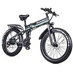 ONLYU-Bici-Elettrica-1000W-48V-Pieghevole-Mountain-Bike-con-26-40-Fat-Tire-21-velocita-Leggero-E-Bike-con-Il-Pedale-del-Freno-A-Disco-Idraulico-Assist-Verde
