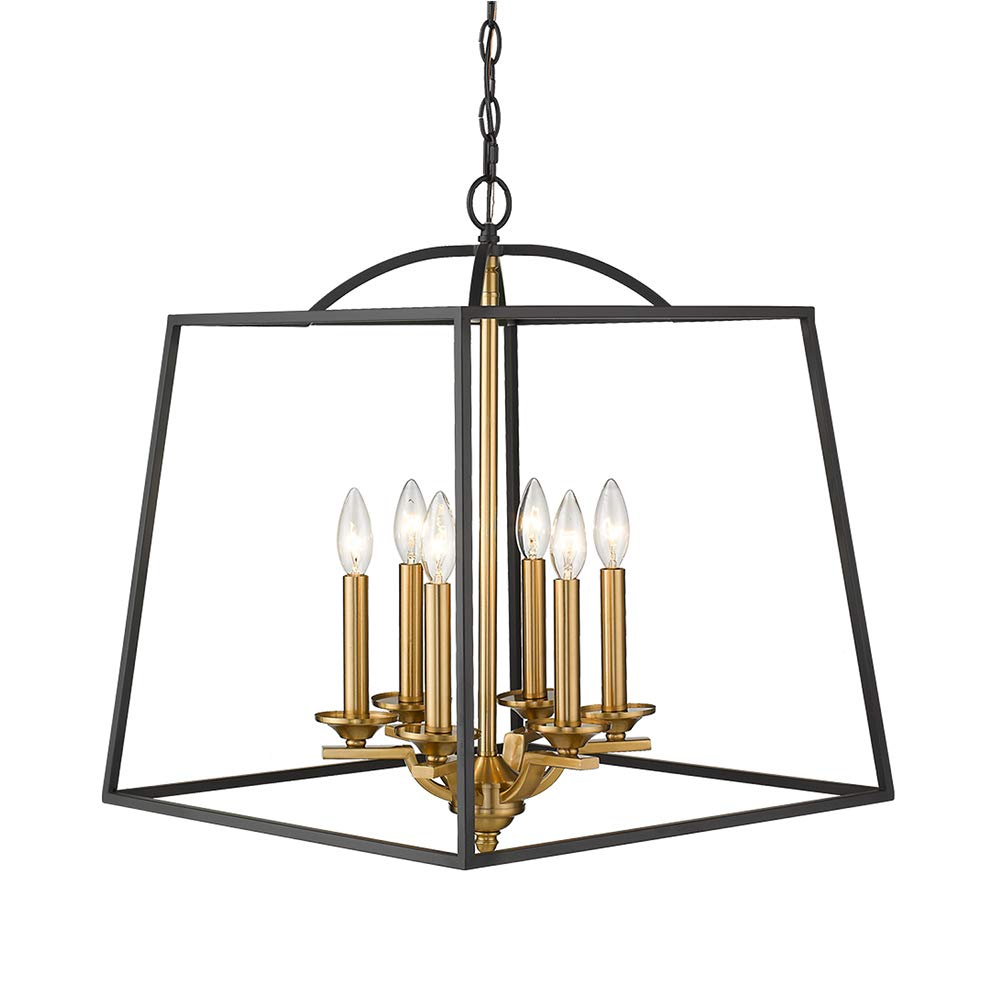 Emliviar 6-Light Modern Farmhouse Chandelier, Foyer Lantern Pendant Light in Black and Gold Finish, 2086P-6 BG