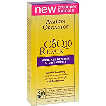 Avalon Organics CoQ10 Repair Wrinkle Defense Night Cream, 1.75 Fl Oz Blum Naturals Daily Normal Skin Towelettes, Cucumber, 30 Count