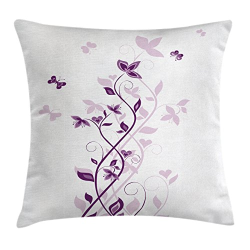 White Lilac Square - Ambesonne Purple Decor Throw Pillow Cushion Cover, Violet Tree Persian Lilac Blooms with Butterfly Art Ornamental Plant Graphic, Decorative Square Accent Pillow Case, 18 X18 inches, Purple White