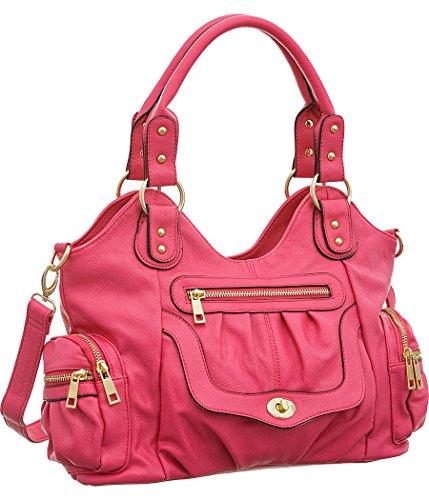 Times Square Hot Pink Shoulder-to-Crossbody Utilitarian Hobo Bag (Handbag Square Hobo)
