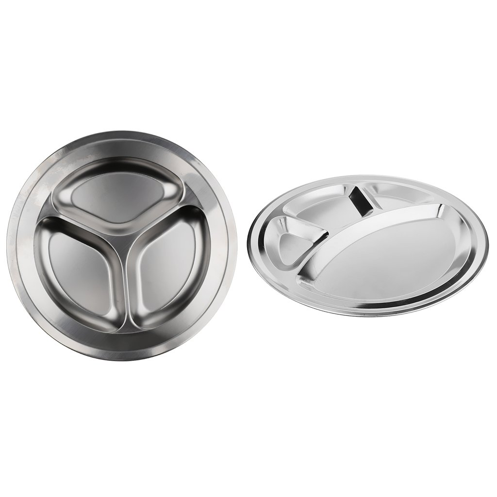 MagiDeal Set of 3 Compartments + 4 Compartments Round Stainless Steel Dinner Dish for Kids Use or Camping Hiking Travel BBQ Picnic by MagiDeal (Image #1)
