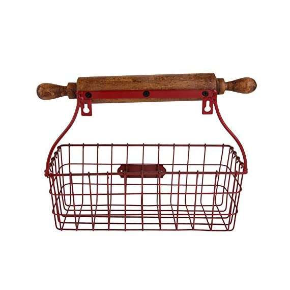 NIKKY HOME Decorative Wall Mounted Hanging Metal Wire Mesh Storage Basket with Rolling Pin, Red - Made of metal and wood with a distressed red finish Measures approx.12-1/4x5-3/8x10-1/4;Color: red Decorative, versatile storage basket with a wooden rolling pin design, needs 2 screws for hanging - wall-shelves, living-room-furniture, living-room - 51s6WKpVt5L. SS570  -