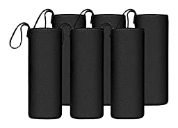 Chef\'s Star Glass Water Bottle 6 Pack 18oz Bottles For Beverage and Juicer Use Stainless Steel Caps With Carrying Loop - Including 6 Black Nylon Protection Sleeve