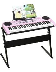 DUWEN Tastiera per bambini 6-10 anni Tutorial per l'autoapprendimento Base per principianti Zero (con microfono + supporto per pianoforte) (Colore : Pink)