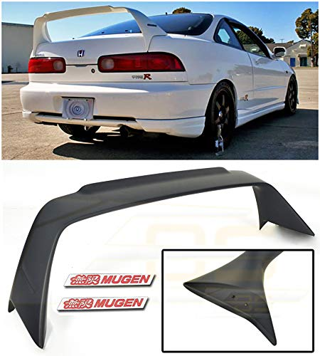 (Extreme Online Store Replacement for 1994-2001 Acura Integra DC2 | Mugen Gen 1 Style ABS Plastic Primer Black Rear Trunk Lid Wing Spoiler with Mugen Red Emblem Pair)