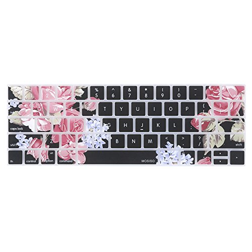 MOSISO Keyboard Cover Compatible Newest MacBook Pro with Touch Bar 13 Inch and 15 Inch (A1989 / A1706, A1990 / A1707) 2018 2016 2017 Release with Touch ID, Peony