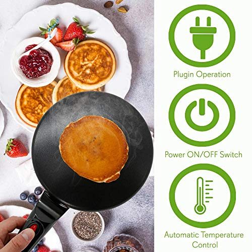 "NutriChef AZPKCRM08 Electric Griddle Crepe Maker Cooktop-Nonstick 8"" Pan Style Hot Plate with On/Off Switch, Automatic Temperature Control & Cool-Touch Handle, Food Bowl & Spatula Included, Black by NutriChef (Image #4)"