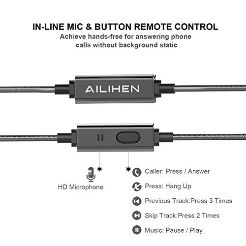 AILIHEN Metal Earbuds with Microphone In Ear Headphones Wired Earphones for Android/IOS Cell Phones iPad iPod Laptop Tablet Computer by AILIHEN (Image #2)