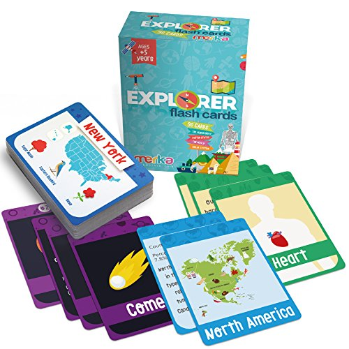merka Kids Flash Cards - Explorer Set - 90 cards to learn about the USA, Human Body, World and Solar System (Material Systems)