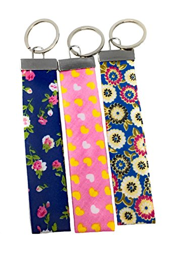 Flower Key Fob - Blazing Autumn Fabric Wristlet/Key Fob Keyring (Hearts And Flowers)