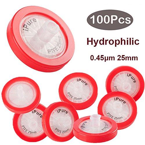100PCS Membrane Solutions PTFE Syringe Filter, 0.45um, 25mm, Prefilter Lab filteration, Hydrophilic